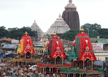 The chariots parked outside the gate of the Shri Mandir, Puri