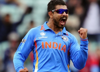 India's Ravindra Jadeja celebrates trapping West Indies' Johnson Charles LBW (leg before wicket) for 60 runs during the 2013 ICC Champions Trophy cricket match between India and West Indies at The Oval in London on June 11, 2013. AFP PHOTO/GLYN KIRK  == RESTRICTED TO EDITORIAL USE  ==        (Photo credit should read GLYN KIRK/AFP/Getty Images)