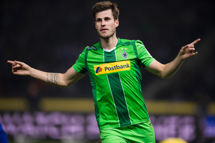 Moenchengladbach's Norwegian midfielder Havard Nordtveit celebrates scoring his side's 4th goal during the German first division Bundesliga football match Hertha Berlin vs Borussia Moenchengladbach at the Olympic stadium in Berlin on October 31, 2015. / AFP / ODD ANDERSEN (Photo credit should read ODD ANDERSEN/AFP/Getty Images)