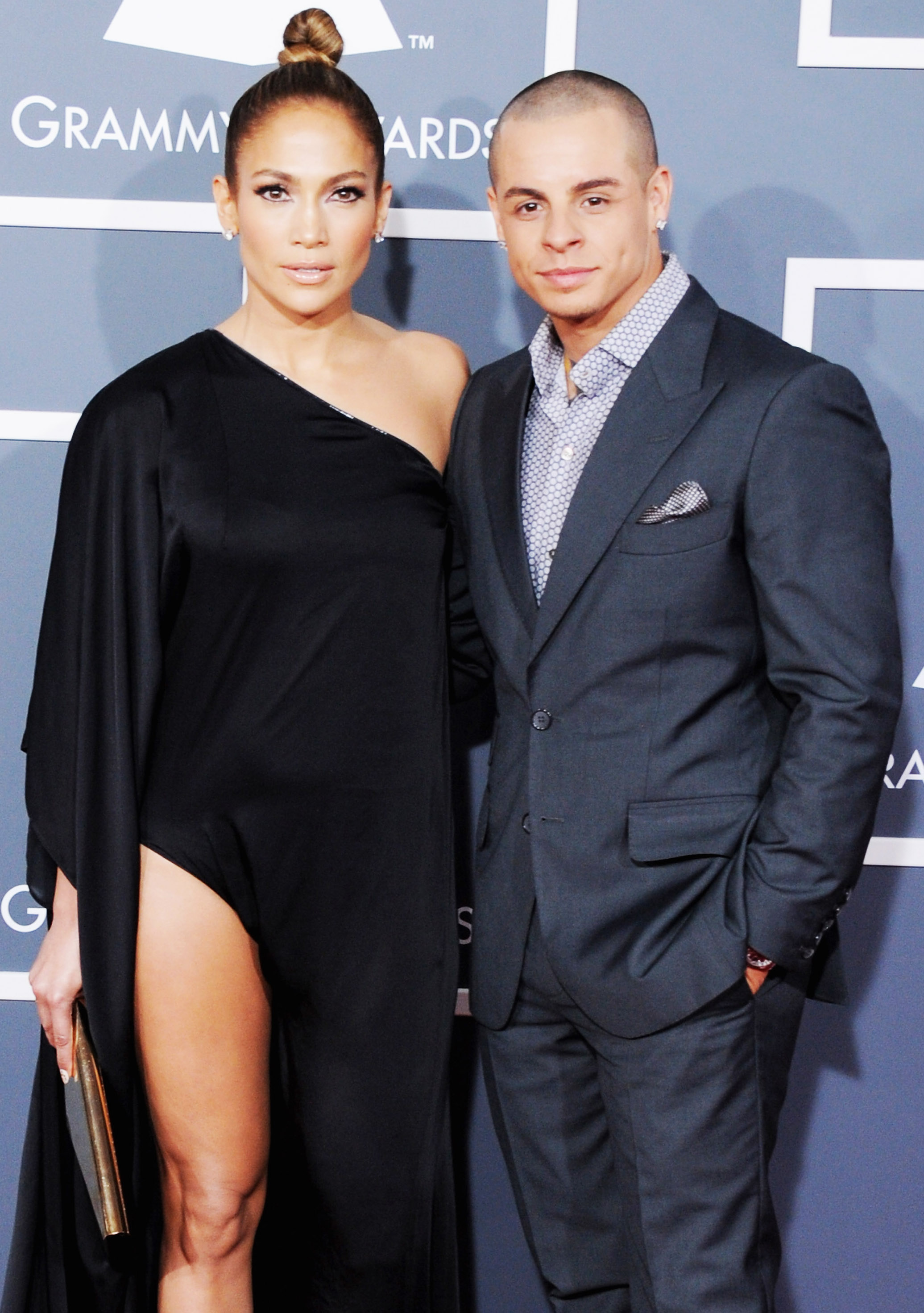 LOS ANGELES, CA - FEBRUARY 10: Singer/Actress Jennifer Lopez and Casper Smart arrive at The 55th Annual GRAMMY Awards at Staples Center on February 10, 2013 in Los Angeles, California. (Photo by Jon Kopaloff/FilmMagic)
