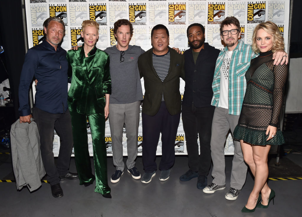 "SAN DIEGO, CA - JULY 23: (L-R) Actors Mads Mikkelsen, Tilda Swinton, Benedict Cumberbatch, Benedict Wong, Chiwetel Ejiofor, director Scott Derrickson and actress Rachel McAdams from Marvel Studios' ""Doctor Strange"" attend the San Diego Comic-Con International 2016 Marvel Panel in Hall H on July 23, 2016 in San Diego, California. ©Marvel Studios 2016 (Photo by Alberto E. Rodriguez/Getty Images for Disney) *** Local Caption *** Mads Mikkelsen; Tilda Swinton; Benedict Cumberbatch; Scott Derrickson; Rachel McAdams; Chiwetel Ejiofor; Benedict Wong"