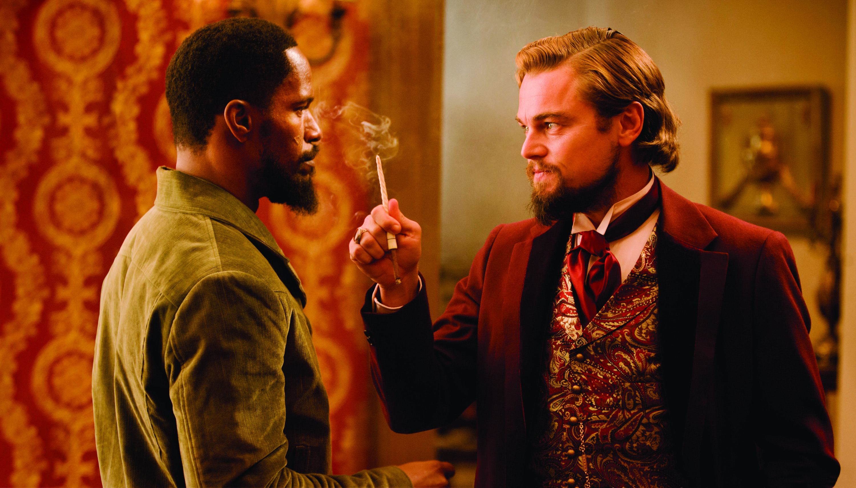 "Jamie Foxx, left, and Leonardo DiCaprio in Columbia Pictures' ""Django Unchained,"" also starring Christoph Waltz."