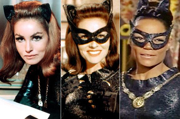 CATWOMAN (l-r) Julie Newmar in the Batman TV series; Lee Mariwether in Batman: The Movie; Eartha Kitt in the Batman TV Series.