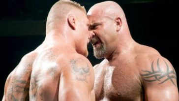 brock-lesnar-and-bill-goldberg-are-face-to-face-during-their-match-at-wrestlemania-xx