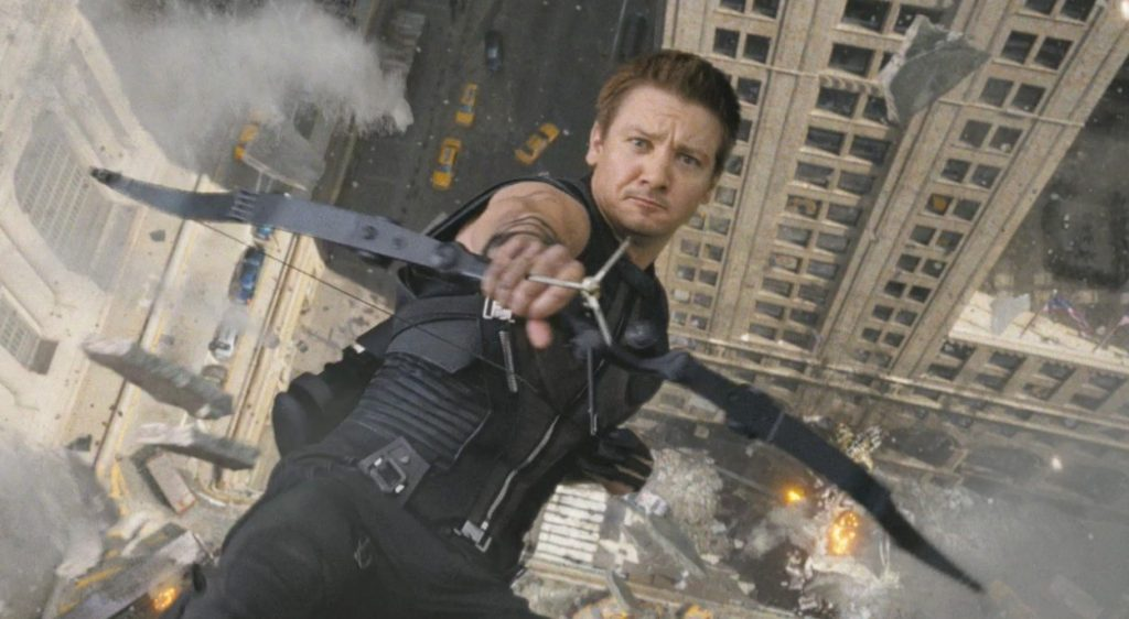 Jeremy Renner in action as Hawkeye