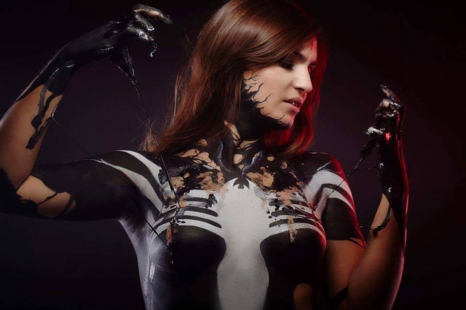 Sexy Spiderman Body Paint