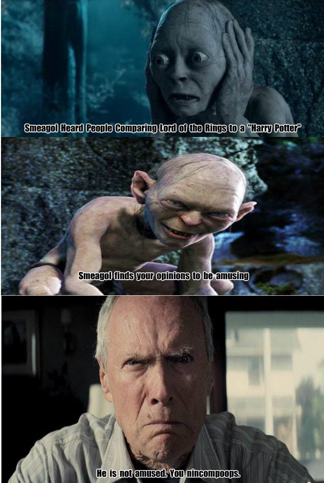 Harry Potter Lord Of The Rings Troll Meme