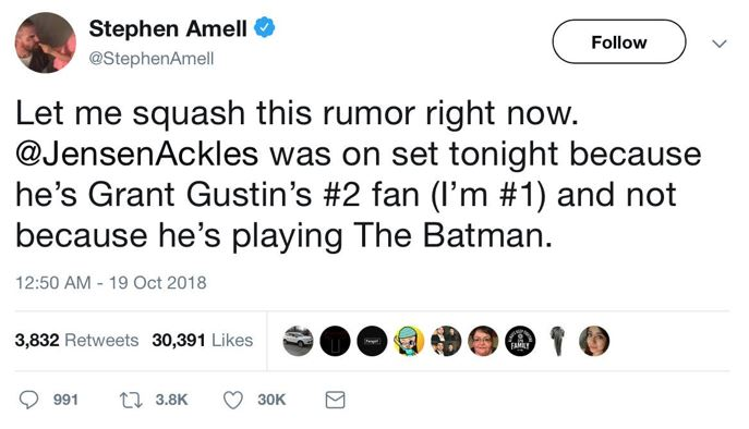 Batman CW Crossover Jensen Ackles Stephen Amell