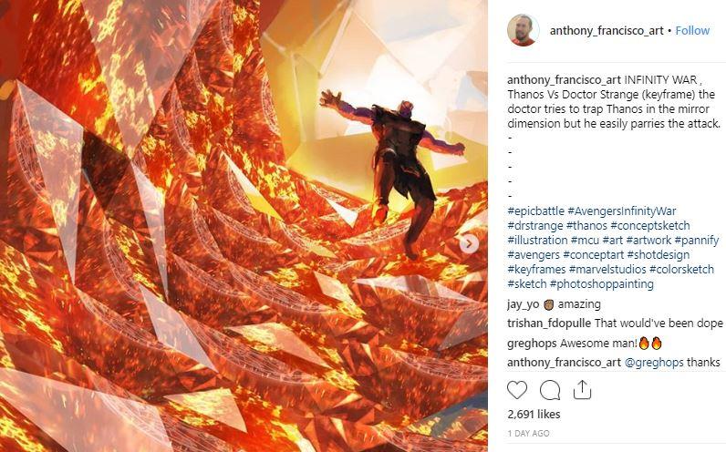 Infinity War Concept Art Doctor Strange vs Thanos