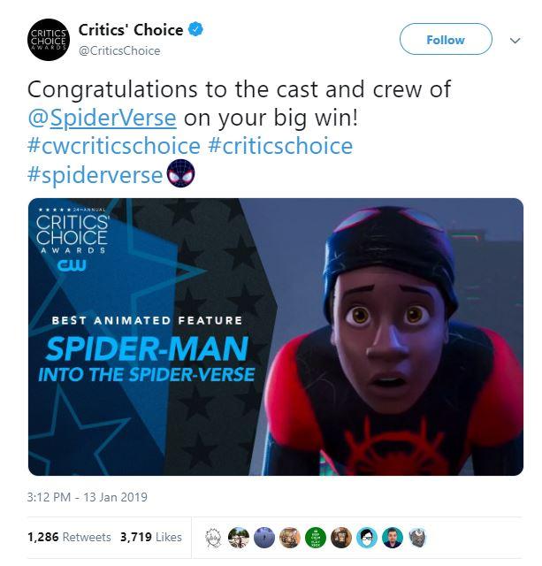 Spider-Man: Into The Spider-Verse Critics Choice Awards