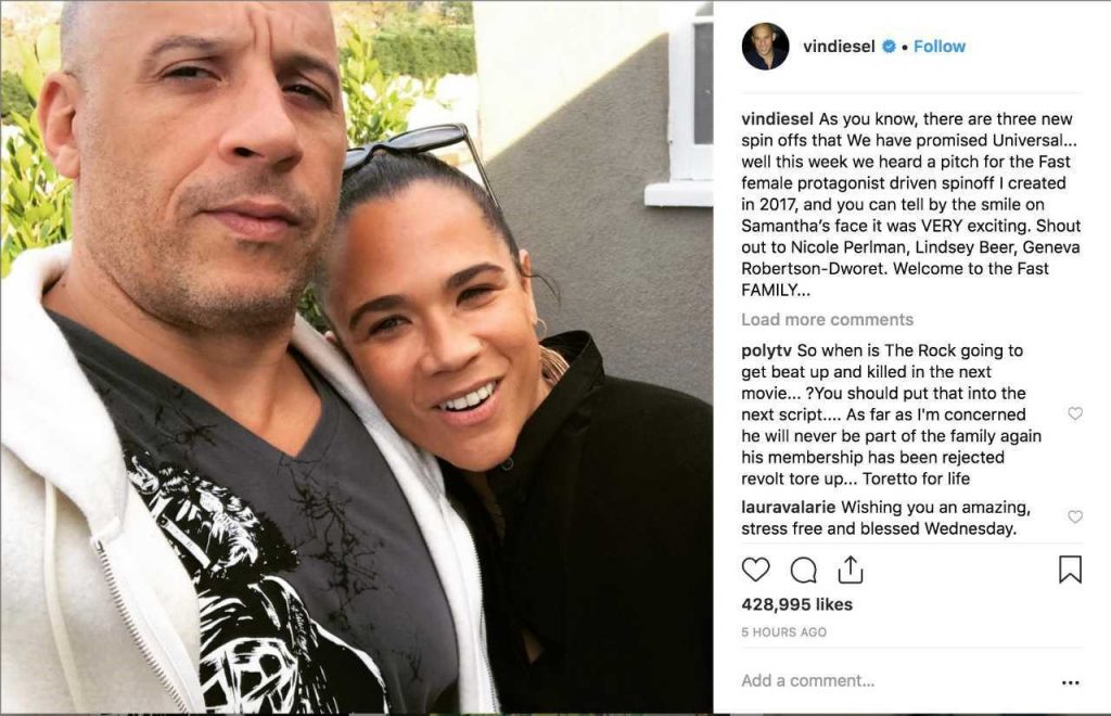 Vin Diesel Fast & Furious Female Led Spinoff MCU