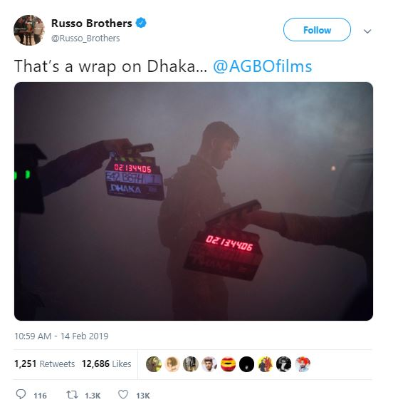 Dhaka Chris Hemsworth Russo Brothers