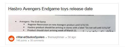Avengers: Endgame Toys
