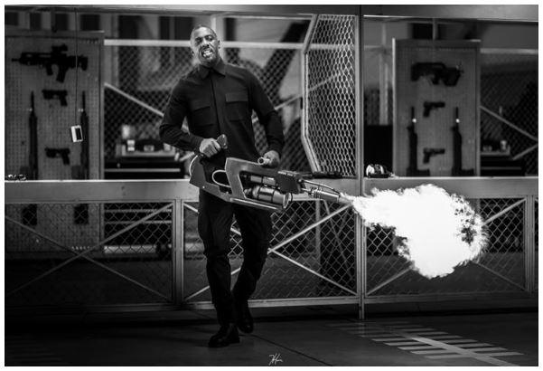 Hobbs & Shaw BTS Photo Idris Elba Flamethrower