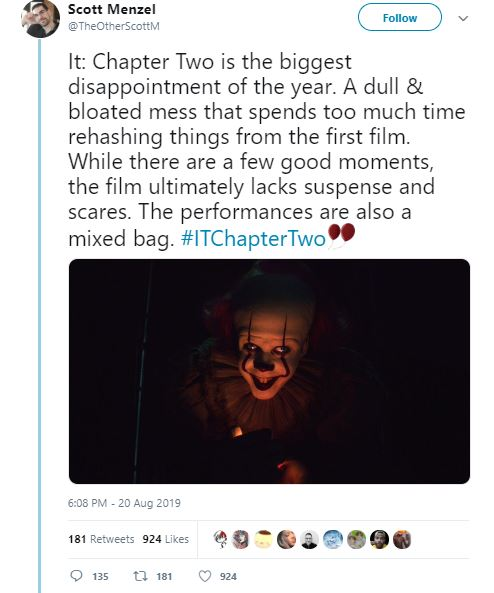 First Reactions For IT: Chapter Two