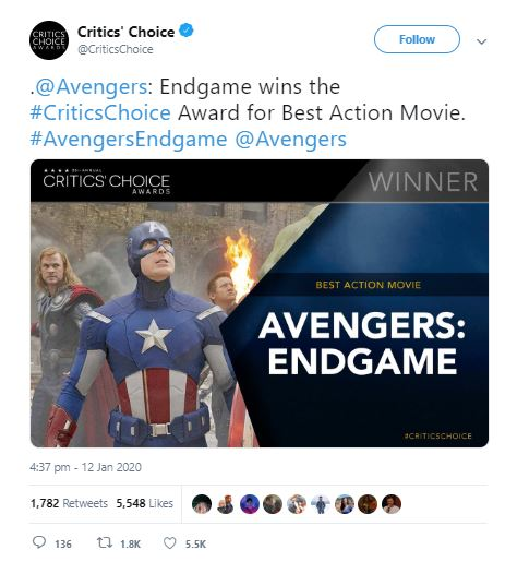 Avengers: Endgame & Joker Win Big at the Critics' Choice Awards