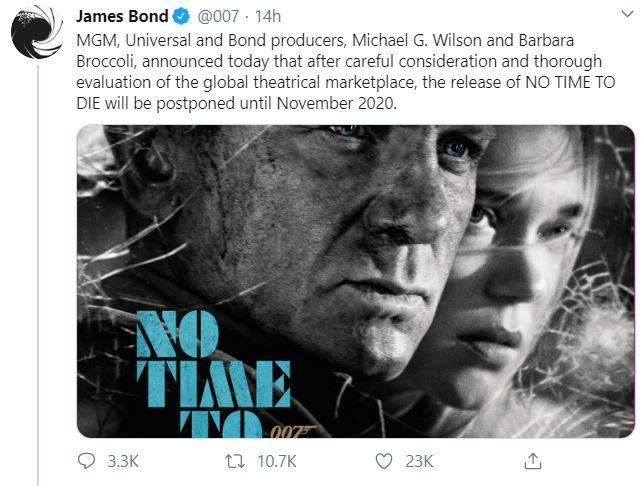 No Time To Die – Bond 25 Suffers Due to Coronavirus