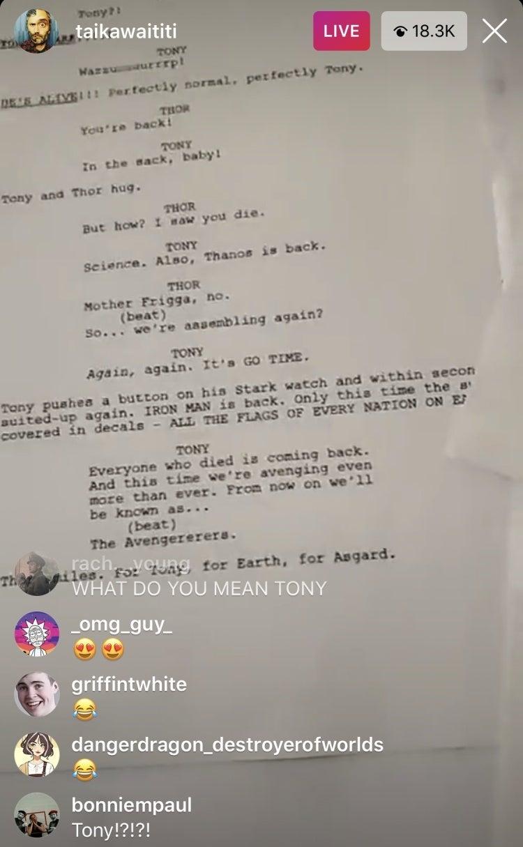 Taika Waititi Script of Thor: Love And Thunder Where Iron Man Returns