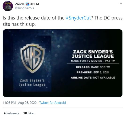 Justice League Snyder Cut Release Date leaked