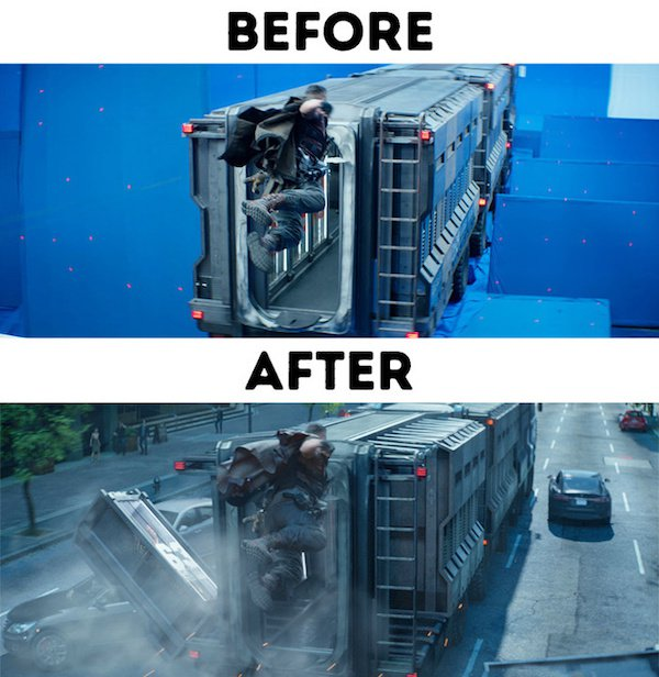 Before And After Special Effects Images from The Movies