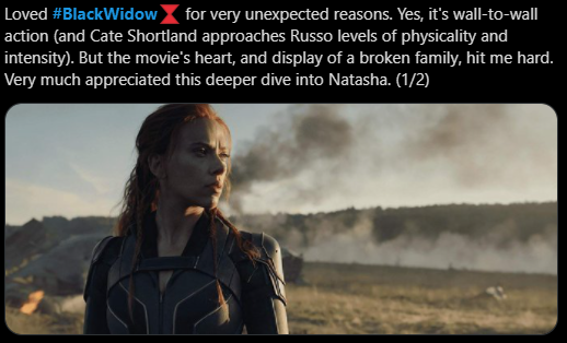 Early reactions of Black Widow